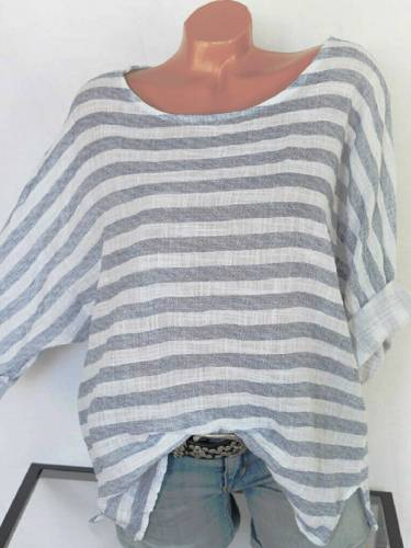 Blue Long Sleeve Cotton-Blend Round Neck Shirts & Tops