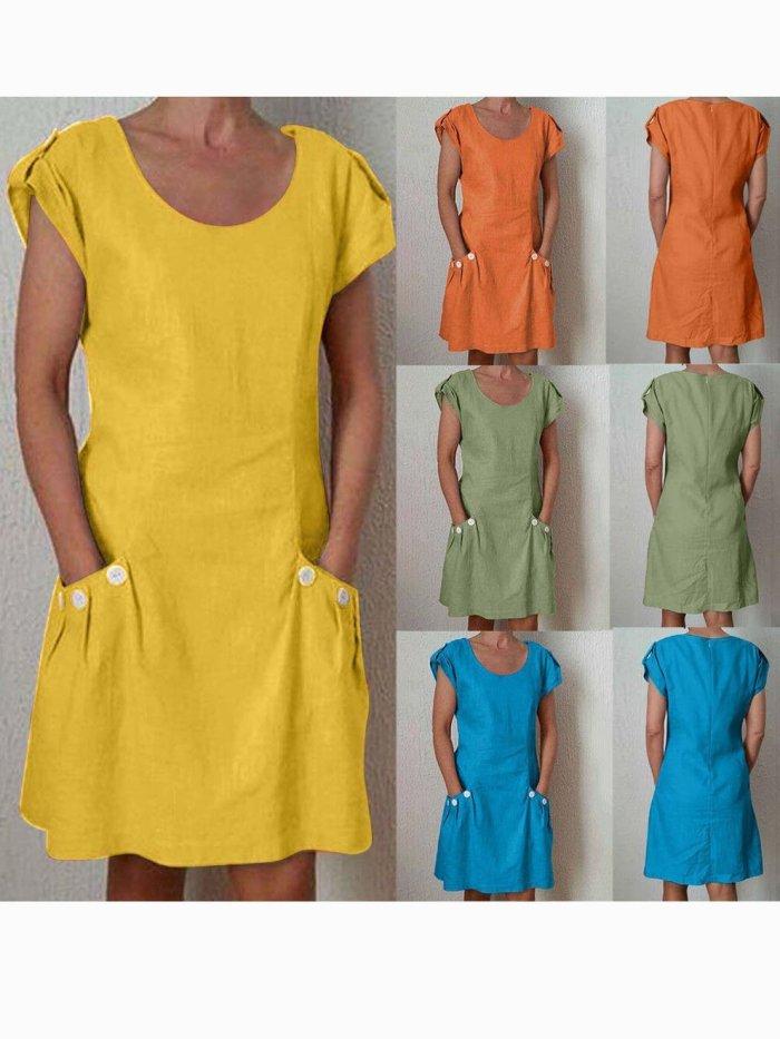 Casual Buttoned Short Sleeve Cotton-Blend Dresses