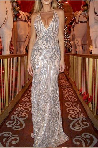 Sexy Sleeveless Deep V Sequined Dress