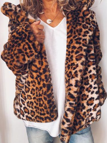 Plus Size Casual Leopard Long Sleeve Outerwear