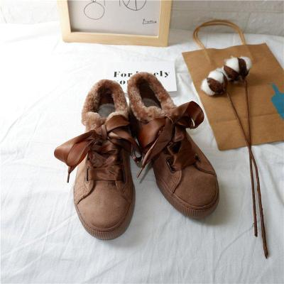 Deep Brown Platform Lace-up Spring/Fall Canvas Daily Boots