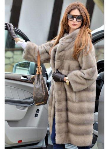 Plus Size Women Long Pattern Thick Faux Mink Fur Leather Parka Winter Coat
