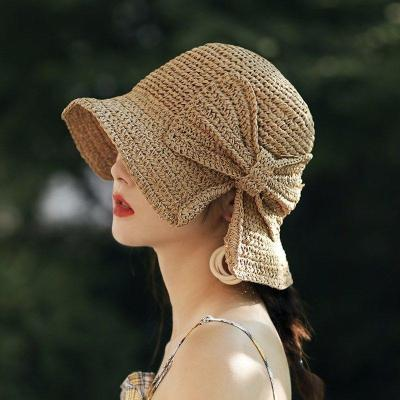 Sun Hat For Women Beach Panama Straw Dome Bucket Hat Shade Hat