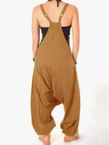 Round Neck Casual Cotton Pocket Jumpsuits