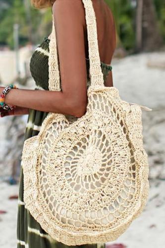 Women's Floral Handmade Zipper Woven Straw Tote Bag