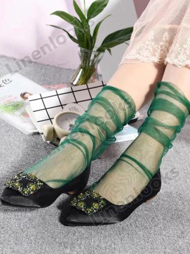 Handmade Fashion Tulle Net Yarn Shiny Socks