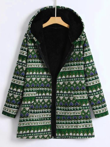 Pockets Long Sleeve Hoodie Tribal Zipper Coat