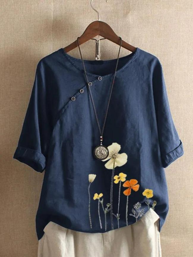 Floral 3/4 Sleeve Casual Round Neck Shirts & Tops