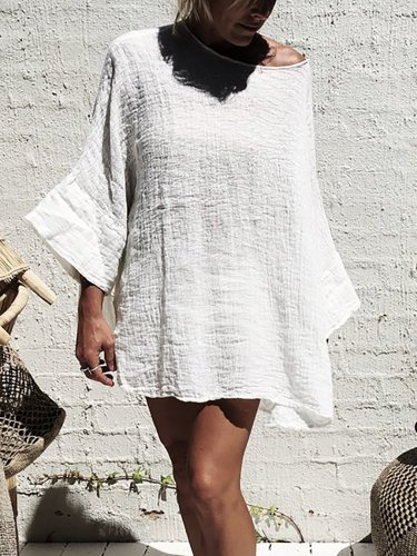 Casual Solid 3/4 Sleeve Plus Size Shirts