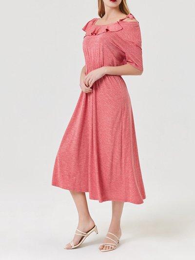 Red Short Sleeve Cotton-Blend Dresses