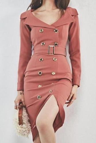 Fashion Turndown Collar Pure Colour Bodycon Dresses