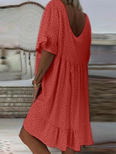 Vintage Short Sleeve V  Neck   Dresses