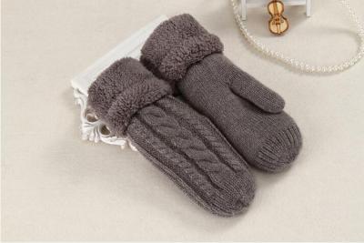 Women Fashion Knit Twist Flowers Mittens Winter Female Wool Plus Cashmere Velvet Thickening Warm Full Finger Gloves