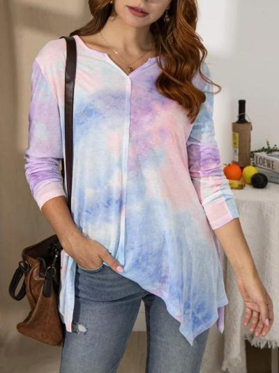 Color Long Sleeve V Neck Ombre/tie-Dye Cotton Shirts & Tops