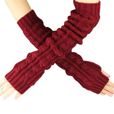 New female long gloves without fingers Winter Wrist Arm Hand Warmer Knitted Long Fingerless Gloves