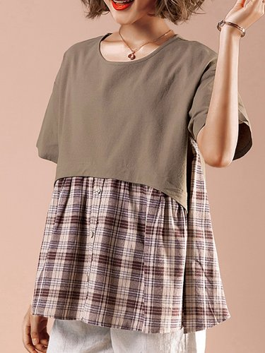 Short Sleeve  Cotton And Linen Stitching Plaid   Casual  T-shirt