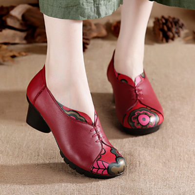 Handmade Chunky Heel Color Block Casual Genuine Leather Loafer