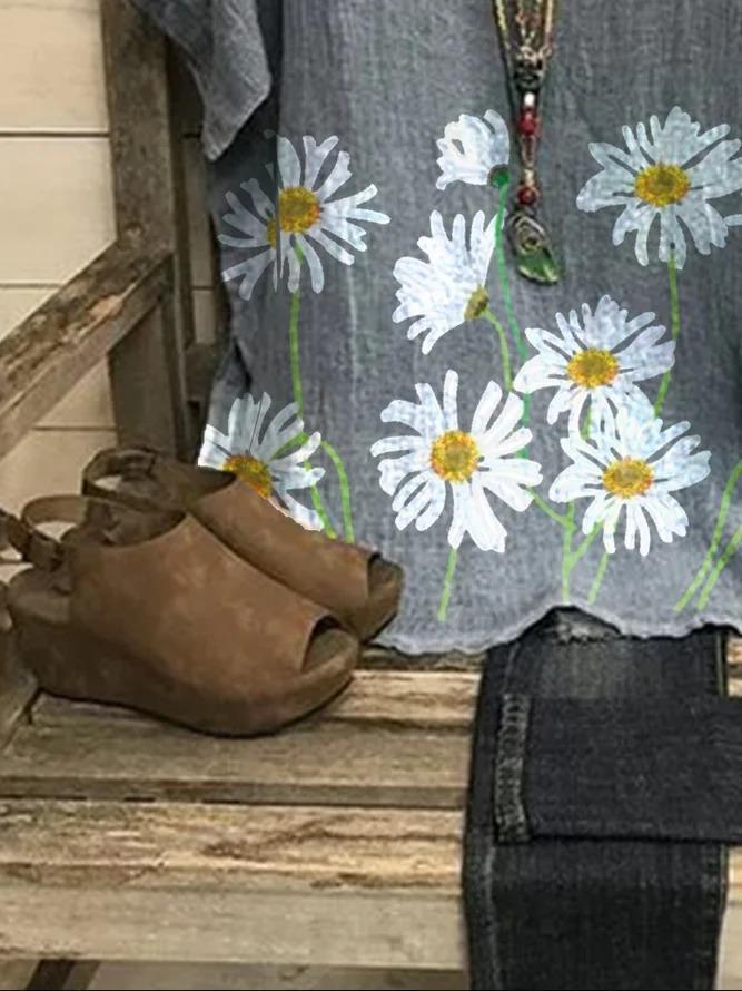 Gray Linen Short Sleeve Floral-Print Shift Shirts & Tops