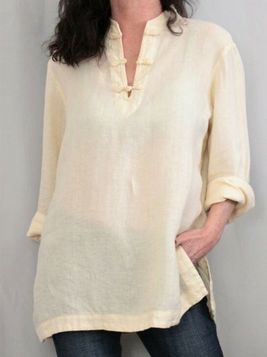Women Tops V-Neck Long Sleeves Slit Side Casual Blouses