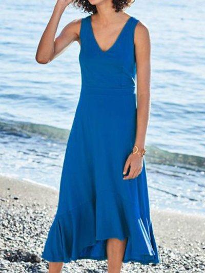 Sleeveless V Neck Casual A-Line Dresses