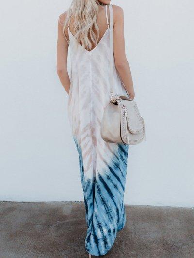 White Swing V-Neck Casual Maxi Dress