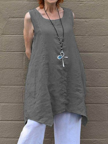 Double Pockets Sleeveless Plus Size Shirts