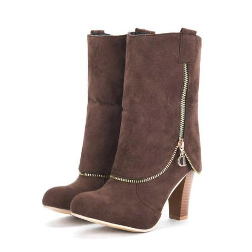 Women Plus Size Chunky Heel Boots Casual Shoes