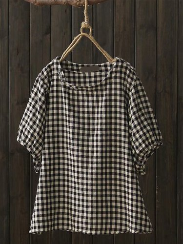 Women Casual Plus Size Tops Tunic Plaid Blouse Shirt