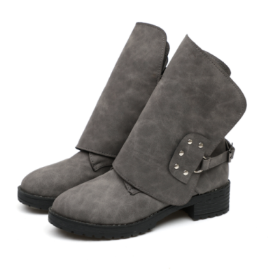 Gray Spring/Fall Buckle Chunky Heel Daily Boots
