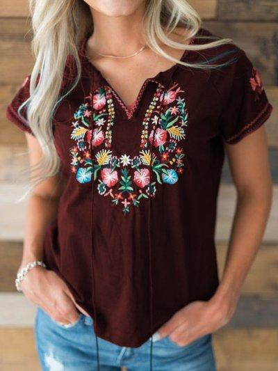 Women Casual Loose Printed Tops Tunic T Shirt