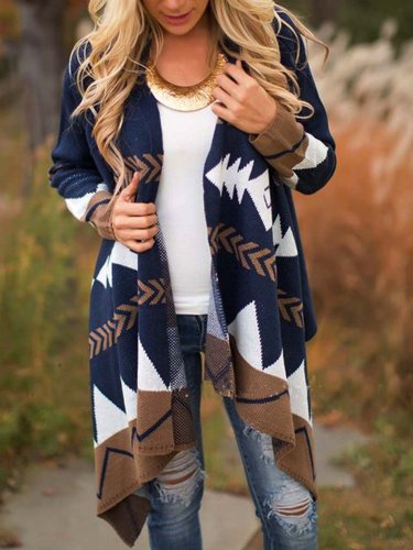 Color-Block Long Sleeve Casual Tribal Cardigan