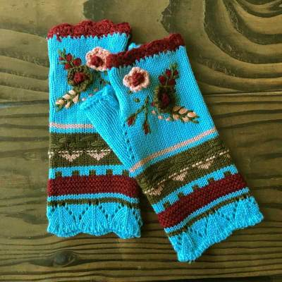 New Women's Warm Knitted Gloves Embroidered Jacquard Handmade Wool Gloves