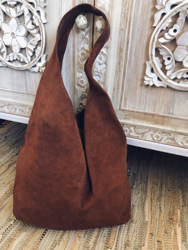 Brown Vintage Suede Solid Women's Bags