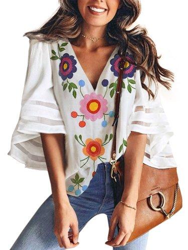 Boho Short Sleeve Cotton-Blend Printed Shirts & Tops