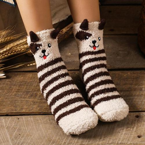 Japanese Style Embroidery Stereo Home Coral Velvet Kettle Socks Box Floor Sox Half Velvet Socks Christmas Socks