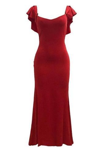 Fashion Off-Shoulder Pure Colour Off-Shoulder Fishtail Dress