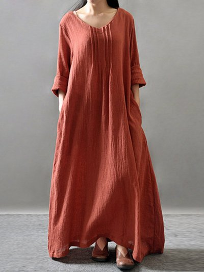 Ruched Long Sleeve Pockets Swing Solid Dress