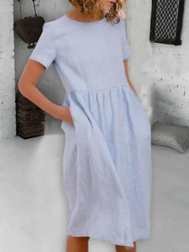 Blue Round Neck Solid Simple Dresses