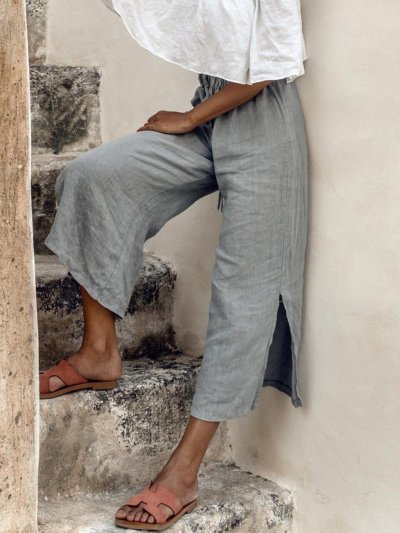Gray Cotton-Blend Pants