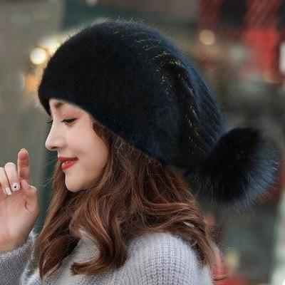 Women Autumn Winter Rabbit Fur Blend Beanie Pompom Fur Knitted Hat Fashion Sweet Warm Earflap Cap Outdoors Skullcap