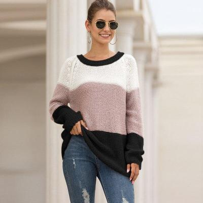 Autumn and Winter New Thick Line Color Matching Pullover Sweater Women's Foreign Trade Sweater Sweater Women Pullover