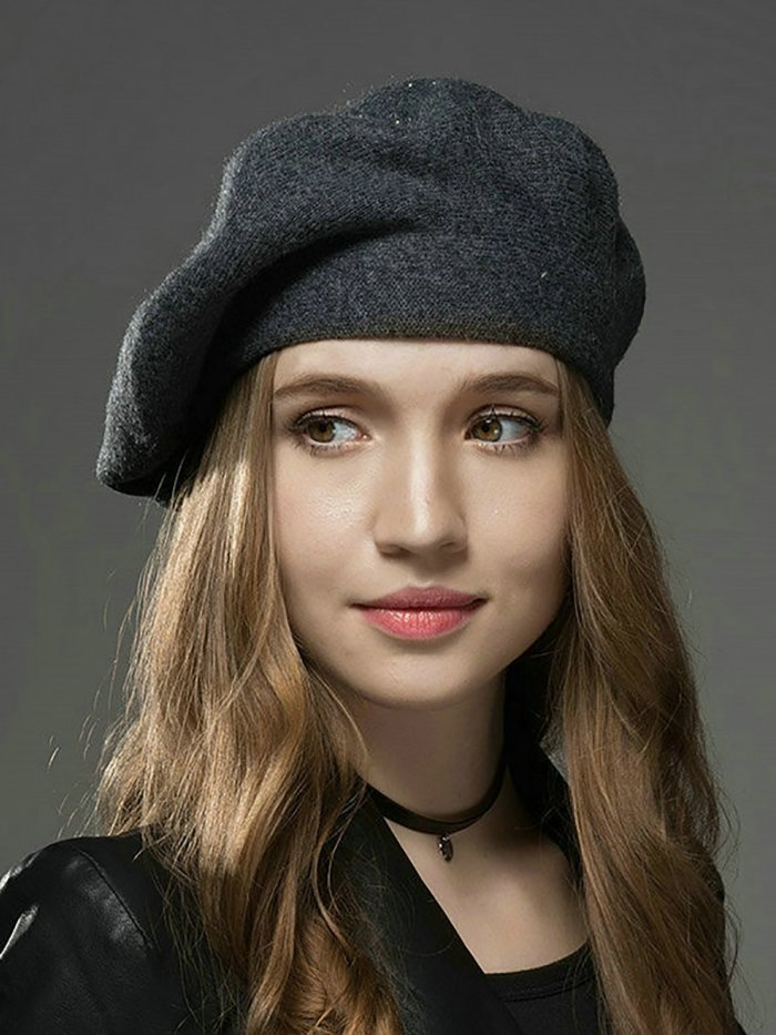 All-match Beaded Wool Blend Casual Soft And Thermal Beret Hat