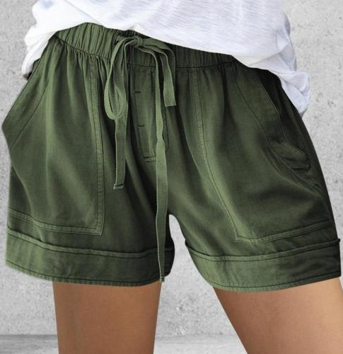 2020 Women Shorts Comfy Drawstring Splice Casual Elastic Waist Pocketed Loose Short