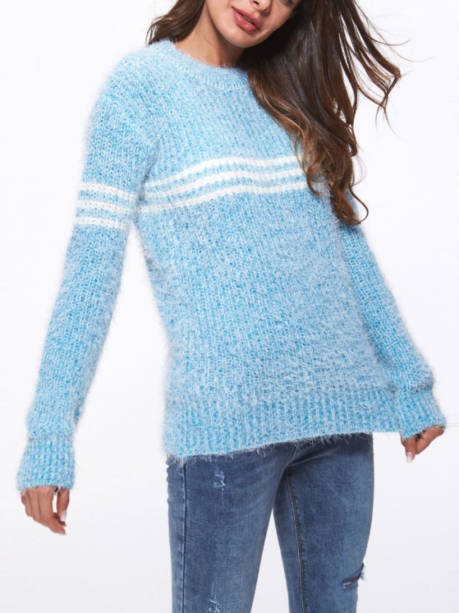 Appliqued Striped Wool Casual Geometric Long Sleeve Sweaters