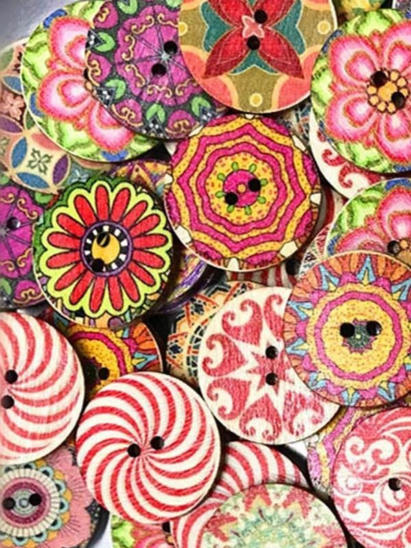 Vintage Style Round Printed Wooden Buttons