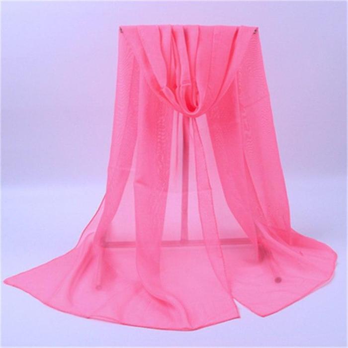 New Wedding Imitation Slik Scarves Women Spring Summer Thin Chiffon Solid Color Scarf Female Party Beach Shawls Wraps