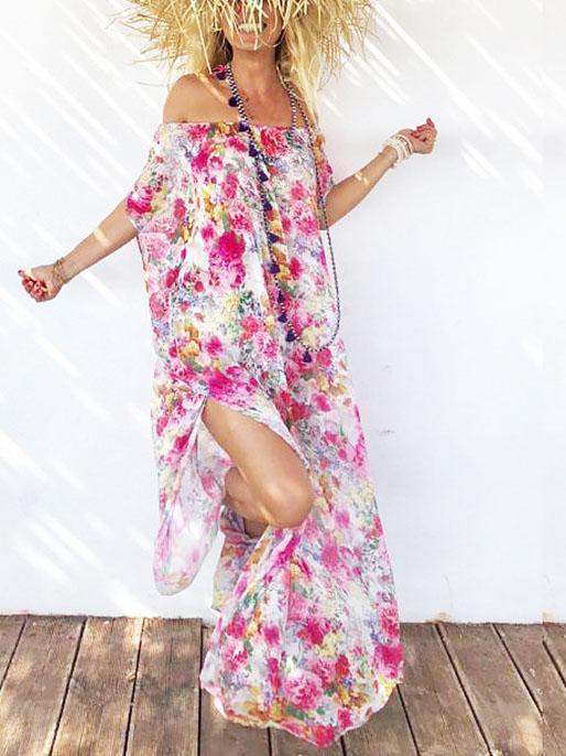 Women Casual Floral Off Shoulder Sleeveless Dress