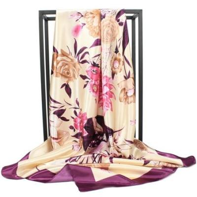 Fashion Women Square Scarf Hijab Silky Satin Shawl Scarfs 90x90cm