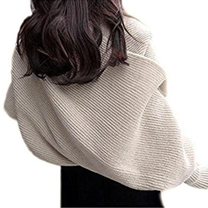 Knitted Wrap Scarf Women with Sleeves Knitted Scarf