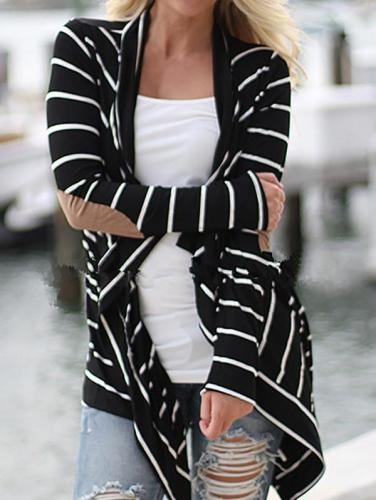 Black And White Striped Loose Knit Cardigan